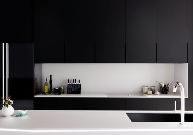 modern kitchen interior design, close-up detail frontal day rendering, 3D concept